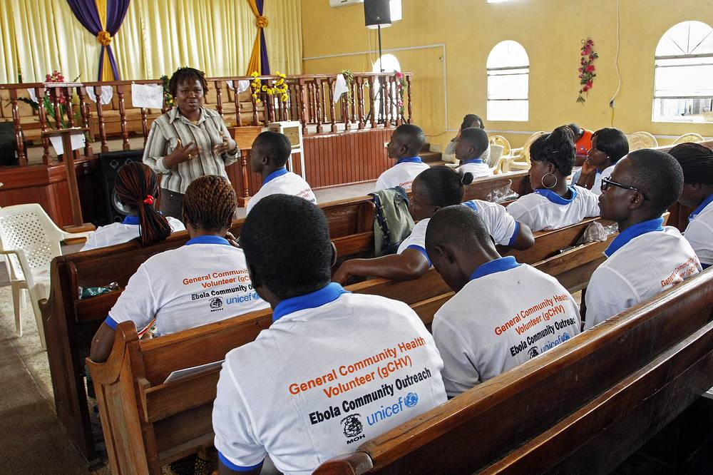Photo: Liberian volunteers being trained at a workshop to help with public awareness in other to stop the spread of the deadly Ebola virus in Monrovia, Liberia, 13 September 2014