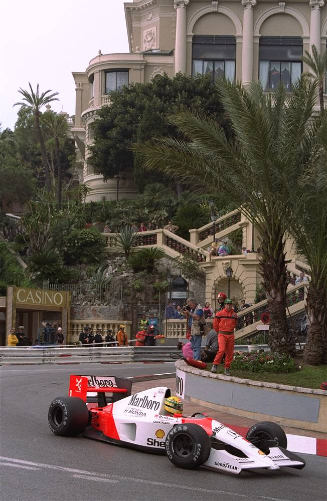 The Monaco Grand Prix is considered the jewel in the crown of the Formula One races. Photo: Brazilian driver Ayrton Senna steers his McLaren-Honda in front of the Loews Hotel May 12, 1991