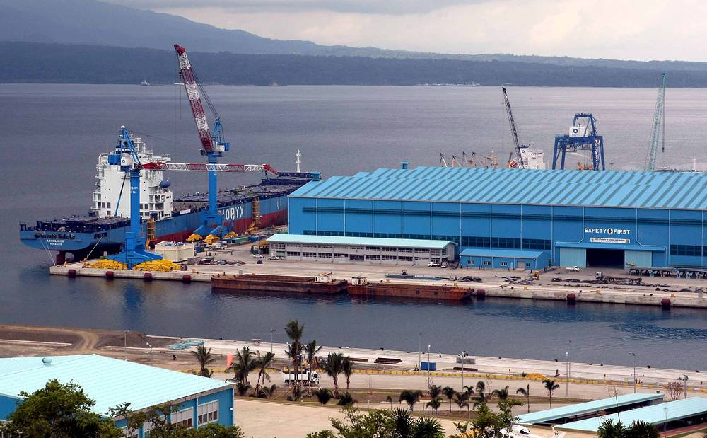 Photo: A view of Subic Bay showing the shipyard in Subic Bay Freeport Zone on the west coast of the island of Luzon in the Philippines
