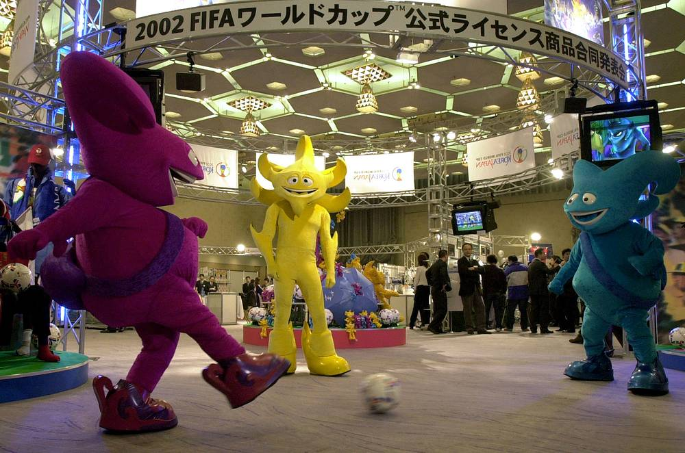 2002 FIFA World Cup was held in Asia for the first time. Host countries were South Korea and Japan. Photo: Mascots, Nik, Ato and Kas, of the 2002 World Cup