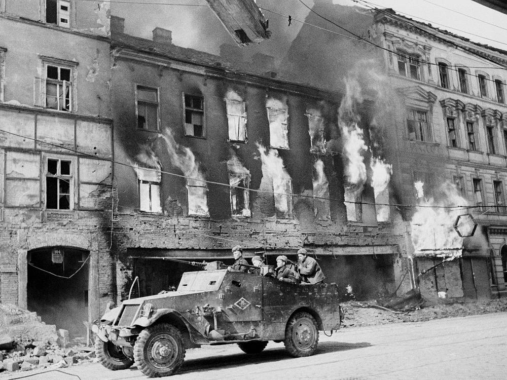 Armoured vehicle of the Red Army liberates the streets of Vienna from the enemy, 1945
