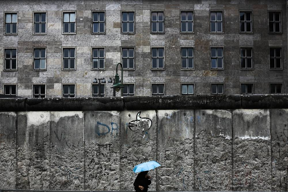 Photo: An original part of the Berlin Wall at Niederkirchnerstrasse in central Berlin