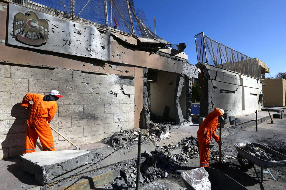 Photo: Damaged building of the UAE embassy that was targeted by car bomb explosion, Tripoli, Libya, 13 November 2014