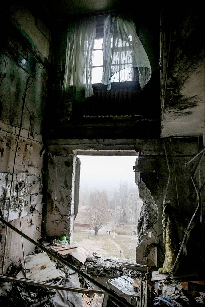 As a result of artillery shelling over 13 thousand objects in Donetsk region were disconnected from gas supply. Photo: A badly damaged apartment building in Donetsk region