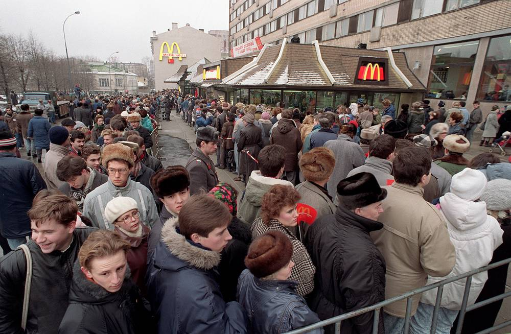 People standing in line to get into the first McDonald's in the USSR in 1990