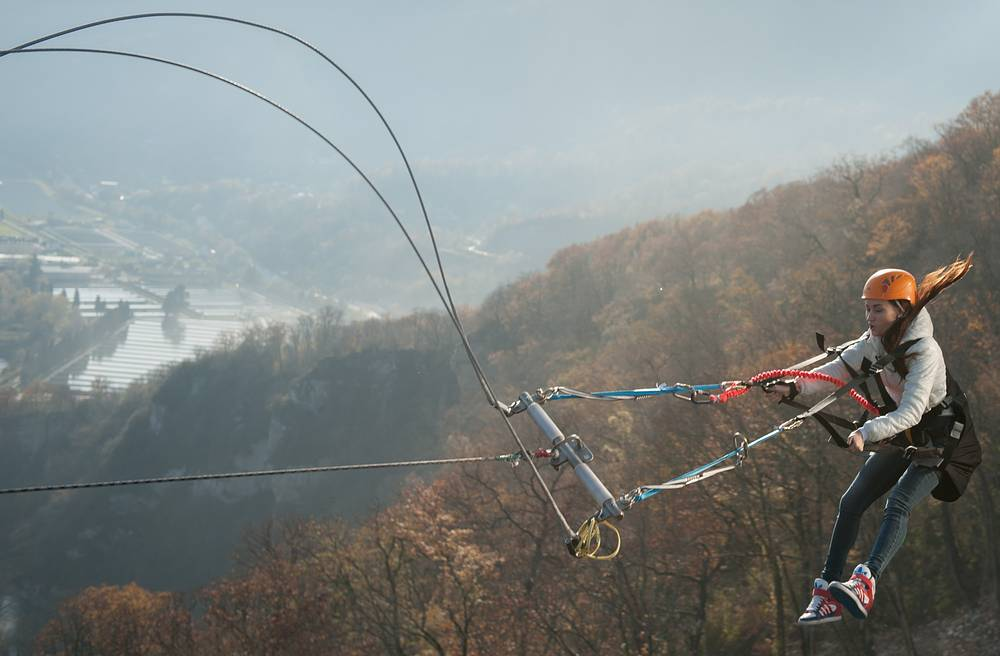 Unusual attraction called SochiSwing opened in Sochi's Skypark, an extreme sports centre. Visitors can experience flying above the gorge at a height of 170 meters