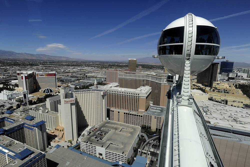 Photo: view from the top of High Roller in Las Vegas. The 550-foot-tall attraction is the highest observation wheel in the world