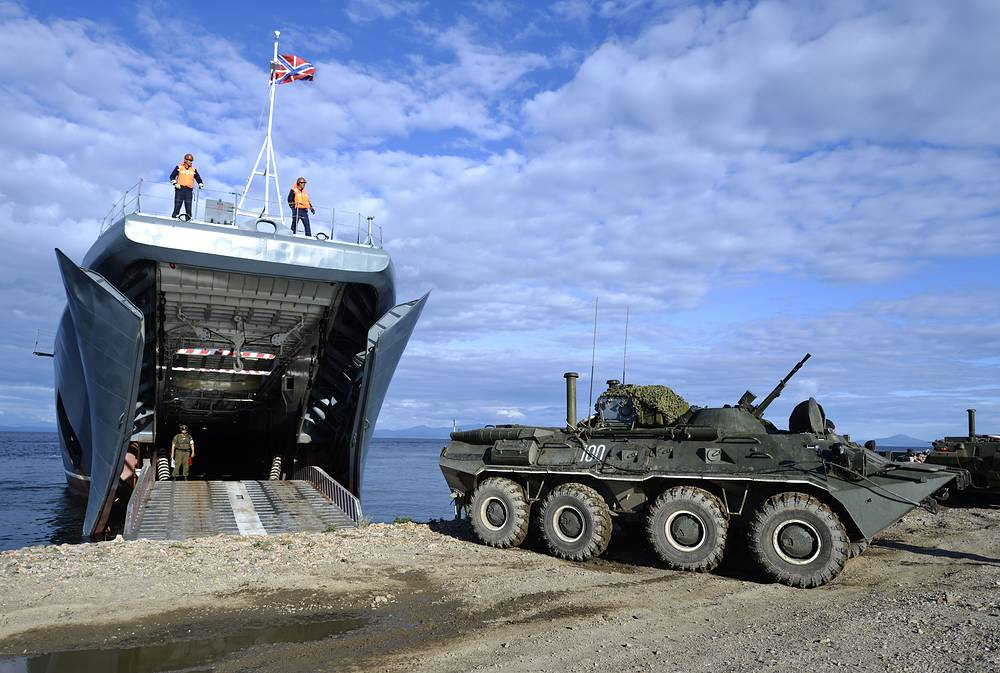 Photo: Armoured vehicles boarding the Peresvet major amphibious ship during an alert military exercise by Russia's Eastern Military District units