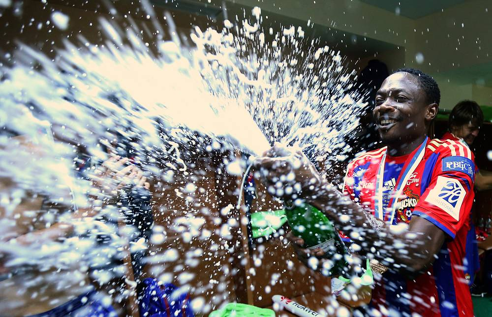 CSKA Moscow forward Ahmed Musa celebrates victory over FC Rostov in the Russian Super Cup