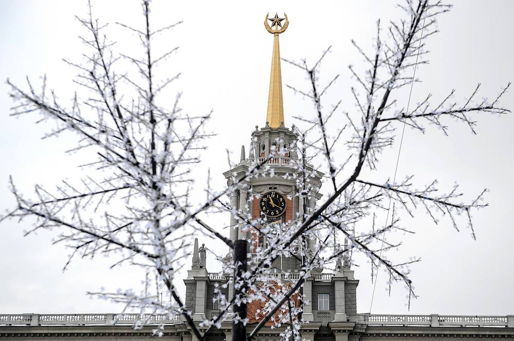 A decorated tree seen in front of the city's administration building ahead of New Year and Christmas celebrations in Yekaterinburg