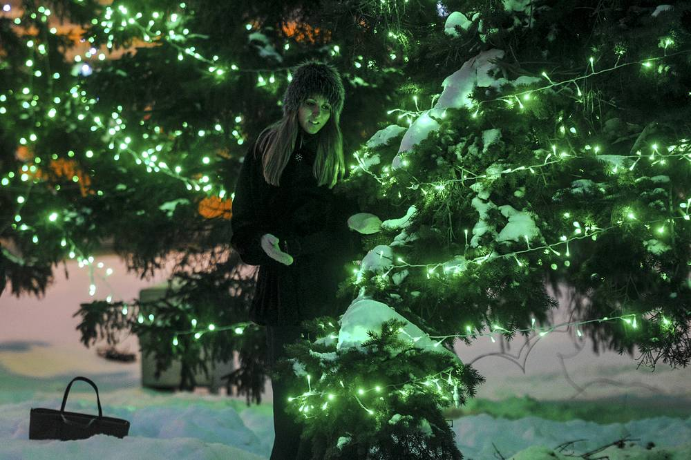 Decorated New Year tree in Novosibirsk