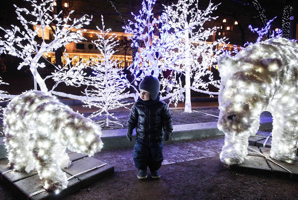 Tverskoy Boulevard in Moscow decorated for the upcoming Christmas and New Year celebrations