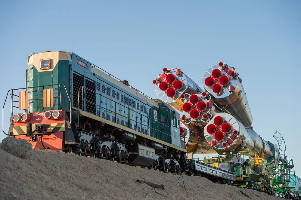 Photo: Soyuz rocket as it is rolled out to the launch pad by train at the Baikonur Cosmodrome in Kazakhstan