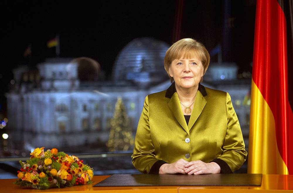 In Germany the President congratulates people with Christmas and Chancellor usually wishes Happy New Year to the nation. Photo: Angela Merkel after the recording of her annual New Year's speech at the Chancellery in Berlin, Germany, December  30, 2013