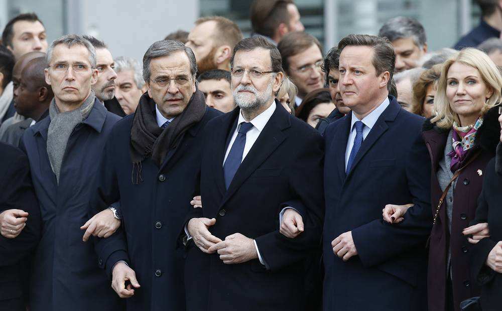Prior to the rally country leaders and heads of delegations arrived to the Elysee Palace to present condolences to the French president. Photo: NATO Secretary-General Jens Stoltenberg, Greek Prime Minister Antonis Samaras, Spanish Prime Minister Mariano Rajoy, British Prime Minister David Cameron and Danish Prime Minister Helle Thorning Schmidt during the march to honor the victims of the terrorist attacks in Paris