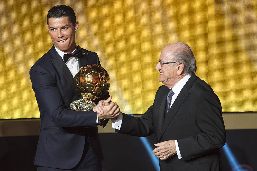 Portuguese striker Cristiano Ronaldo (left) received the FIFA Ballon D'or World Player of the Year 2014 award at the FIFA Ballon d'Or gala held at the Kongresshaus in Zurich, Switzerland, 12 January 2015