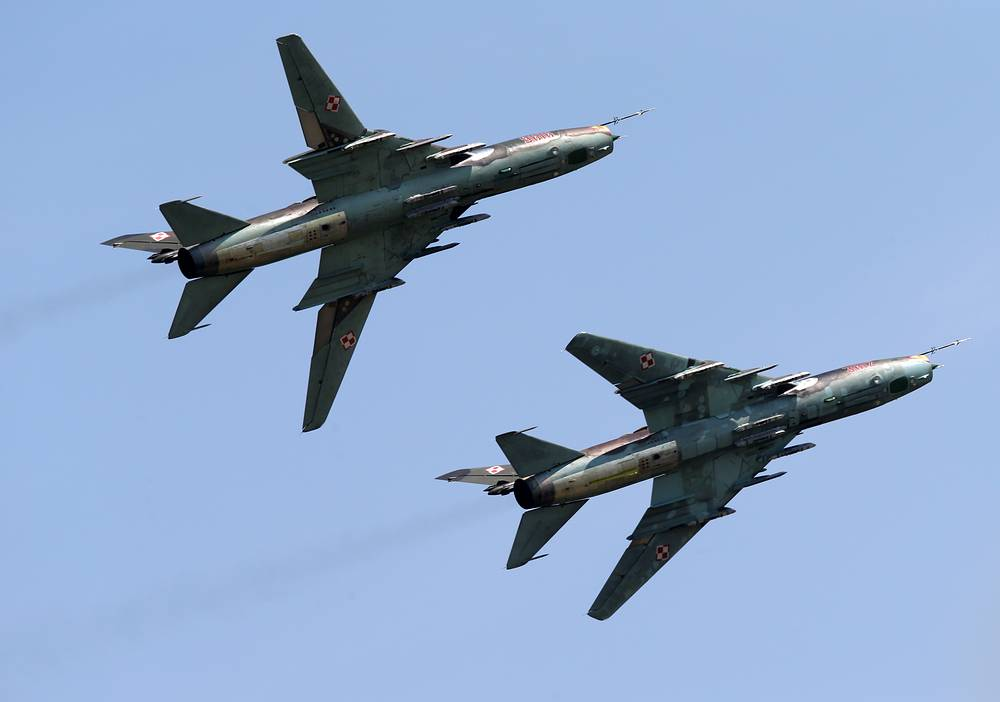 Two Polish Air Force Su-22 jets at 2014 Royal International Air Tattoo in Gloucestershire, Great Britain