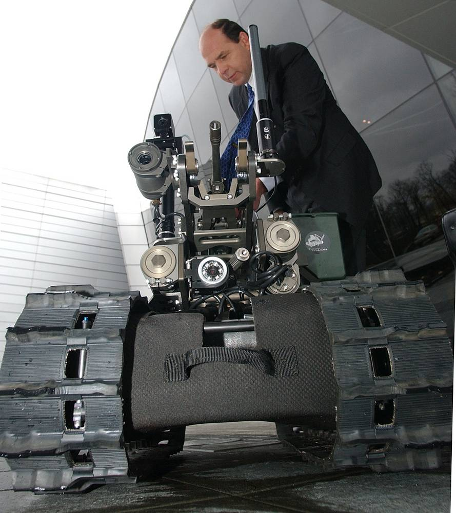 Weaponized robot by defense firm Foster-Miller, also known as SWORDS, short for Special Weapons Observation Reconnaissance Detection Systems, United States