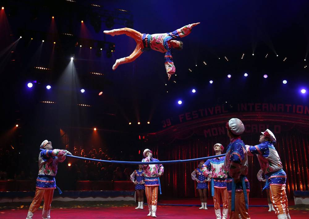 "Shatirov troupe performing circus act called ""Acrobats on Russian bar"""