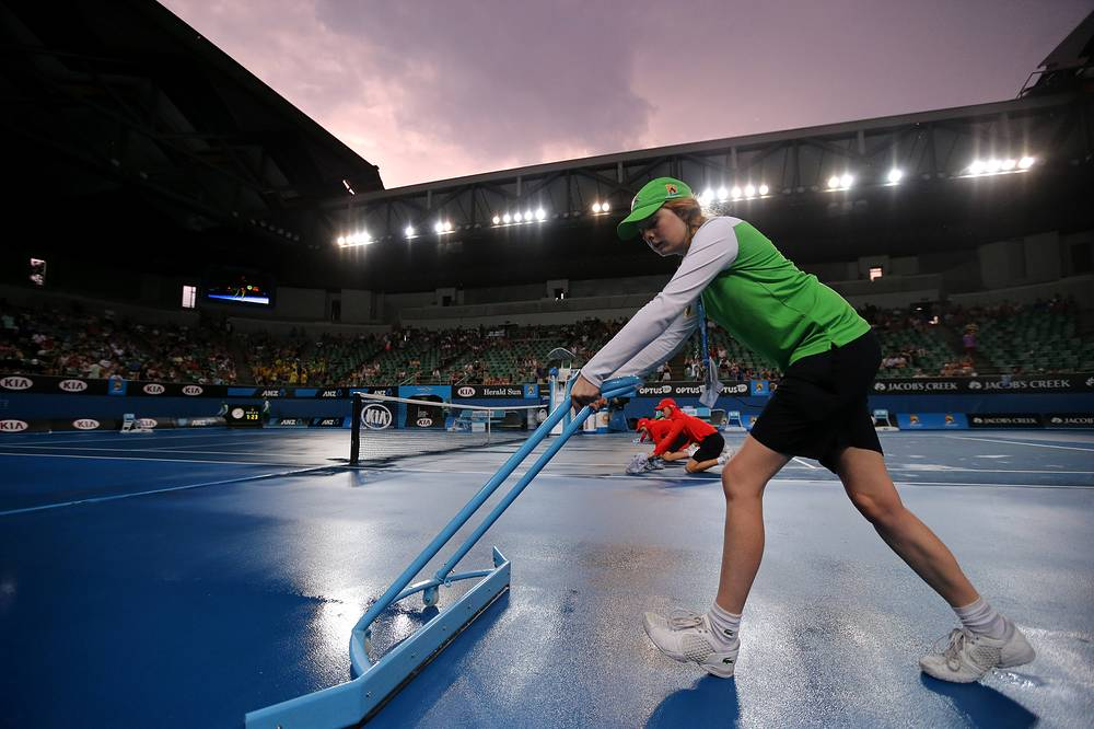 Margaret Court Arena after rain stopped play at the Australian Open tennis championship in Melbourne, 2014
