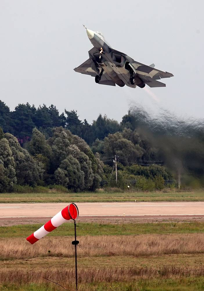 T-50 fighter jet is also known as PAK FA (Prospective Airborne Complex of Frontline Aviation). Photo: T-50 by Sukhoi takes off at the MAKS-2013 Air show