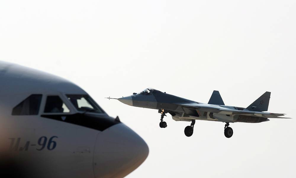 Sukhoi T-50 jet fighter performing a demonstration flight at MAKS-2011 Air show in Zhukovsky