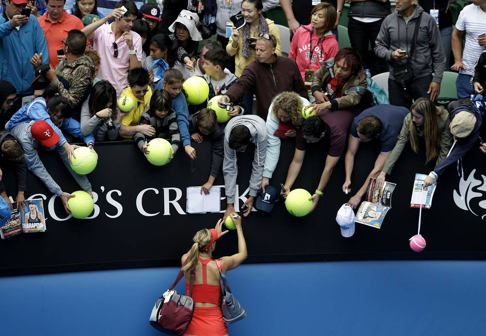 The Russian tennis star Maria Sharapova will meet her long-time rival Serena Williams of the United States in the 2015 Australian Open final. Photo: Maria Sharapova signs autographs for fans after defeating Eugenie Bouchard in their quarterfinal match at the Australian Open 2015