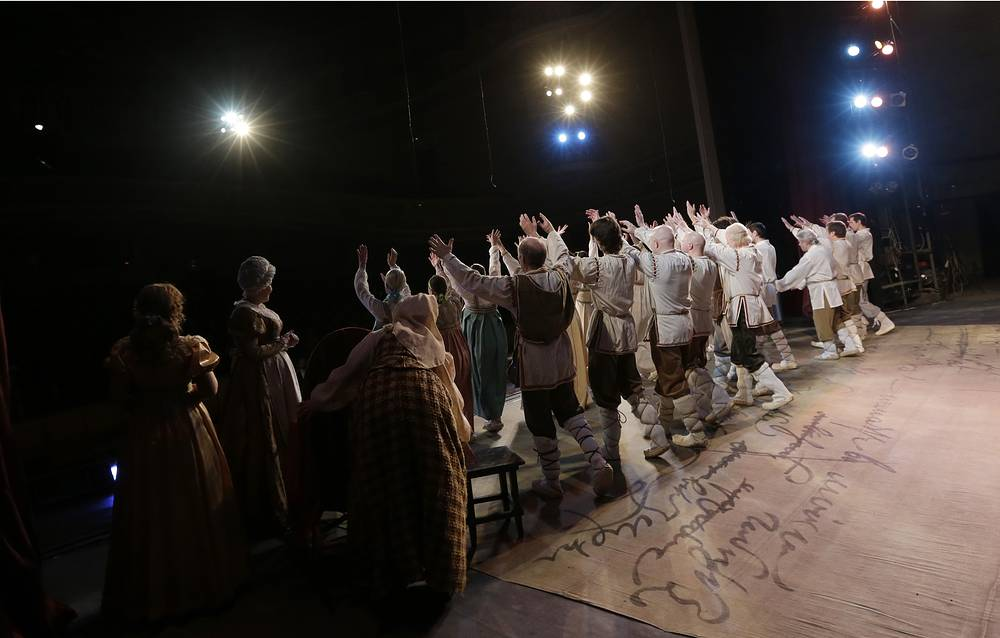 Actors with the Donbas Opera Theater perform Eugene Onegin in Donetsk