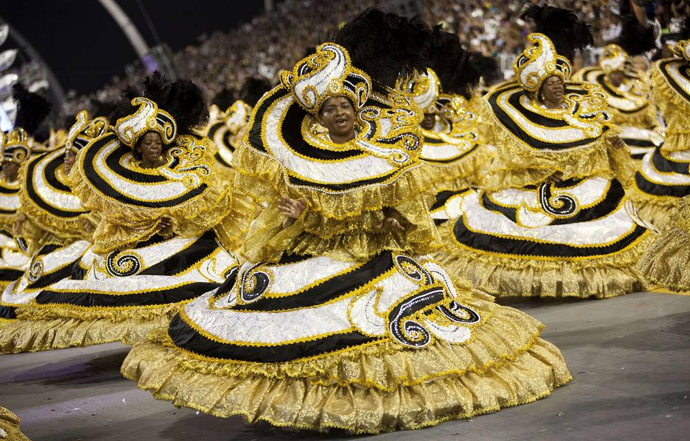 Members of samba school Vai-Vai during second day of Brazilian carnival in Sao Paulo