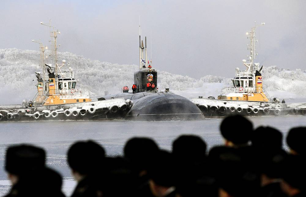Russia's third Borei-class nuclear-powered submarine Vladimir Monomakh at the Russian Northern Fleet base