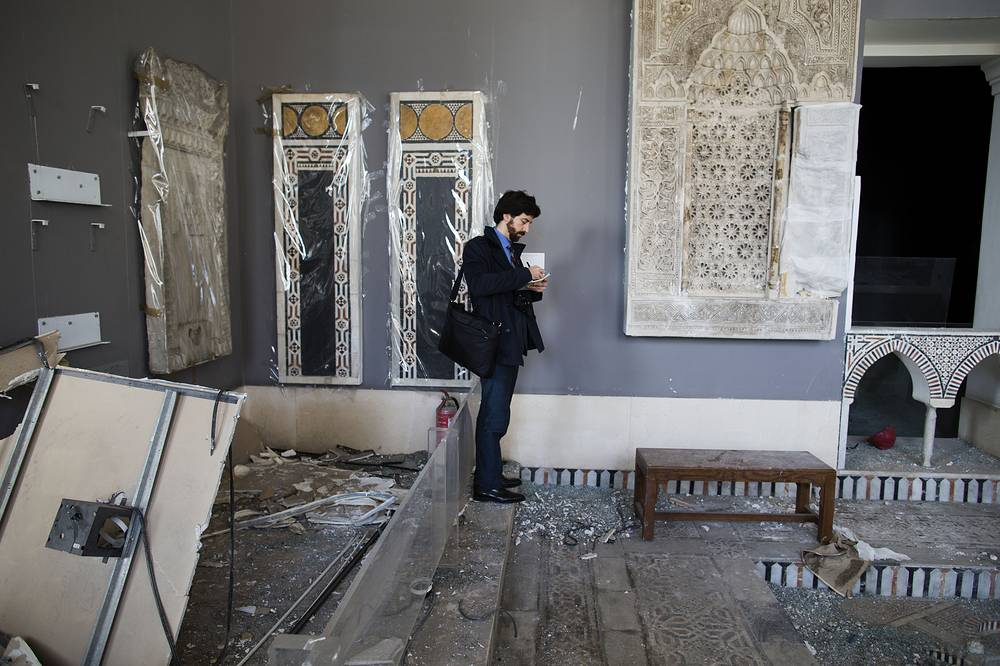 In January 2014 centuries-old artifacts in the Museum of Islamic Artifacts in Cairo were destroyed by a bombing that ripped through the nearby  police headquarters. Photo: UNESCO delegation at the museum