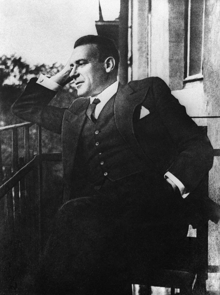 Mikhail Bulgakov (1891-1940), best known for his novel The Master and Margarita, on the balcony of his apartment in Moscow, 1935