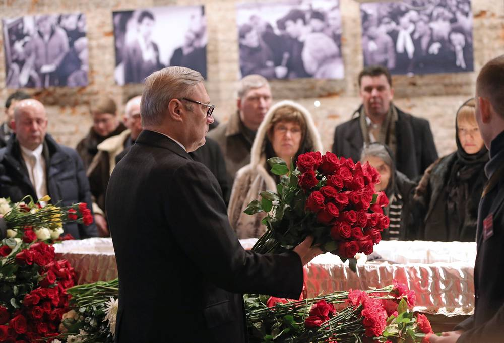 Mikhail Kasyanov, co-chairman of the RPR-Parnas party, at the mourning ceremony