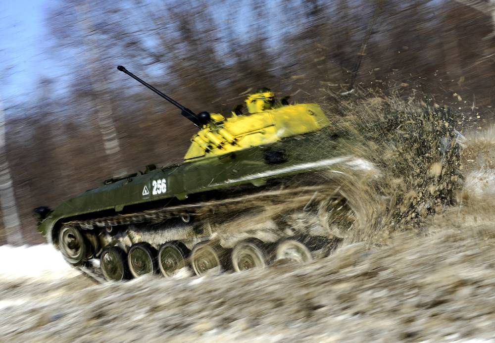 Tank biathlon is a mechanized military sport invented by the Russian Military. Photo: A BMP-2, an infantry fighting vehicle, at a regional stage of the 2015 Tank biathlon competition at the Anastasyevsky training ground