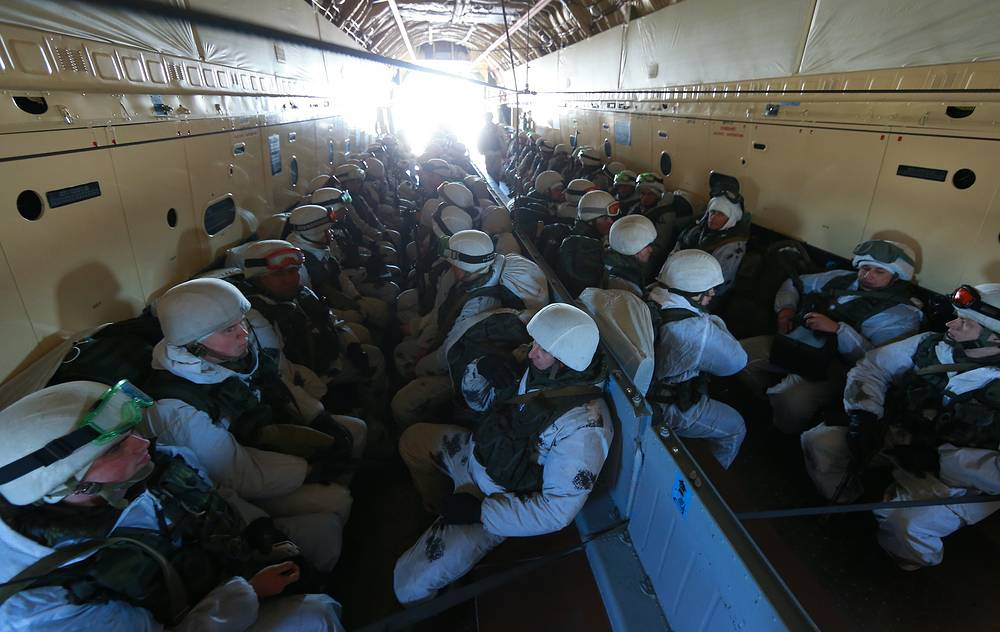 Russian airborne forces servicemen inside the military transport aircraft Il-76
