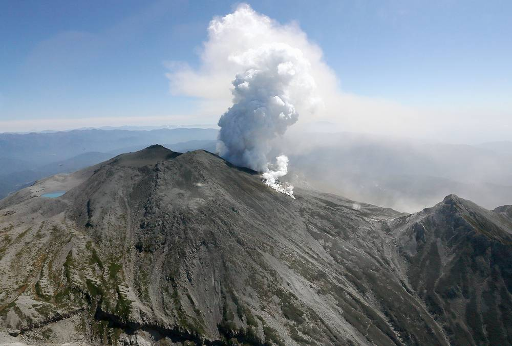 A volcanic eruption of Mount Ontake took place on September 27, 2014, . Photo: Mount Ontake in central Japan, 2014 Sunday, Sept. 28, 2014