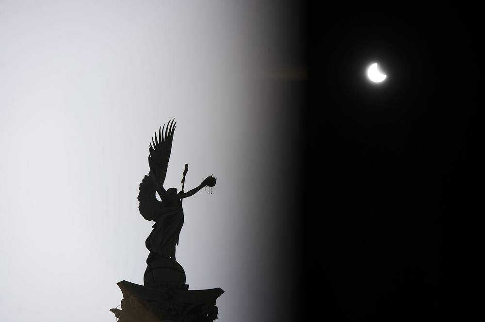Partial solar eclipse seen over the Heroes' Square Budapest, Hungary, 20 March 2015