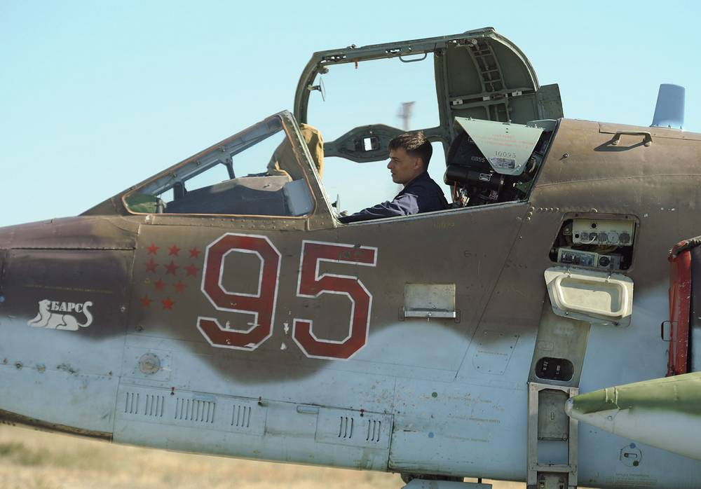 A pilot in the Sukhoi Su-34 fighter-bomber at the Akhtubinsk State Flight-Test Center