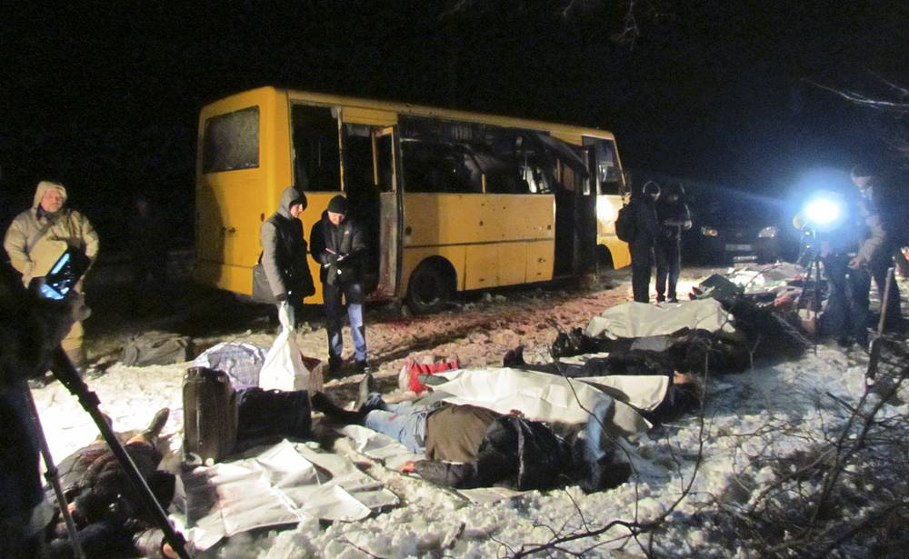 Aftermath of a shelling attack on a passenger bus near the eastern Ukraine town of Volnovakha in Donetsk region, January 2015