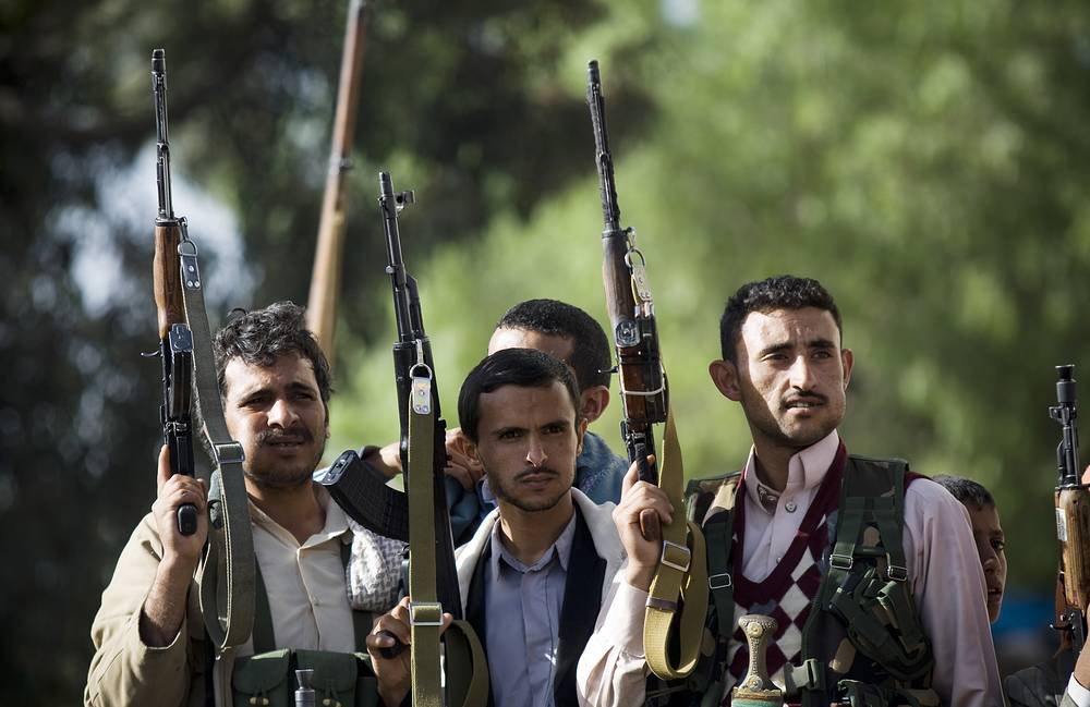 Houthis at a demonstration against an arms embargo imposed by the UN Security Council on Houthi leaders, in Sanaa