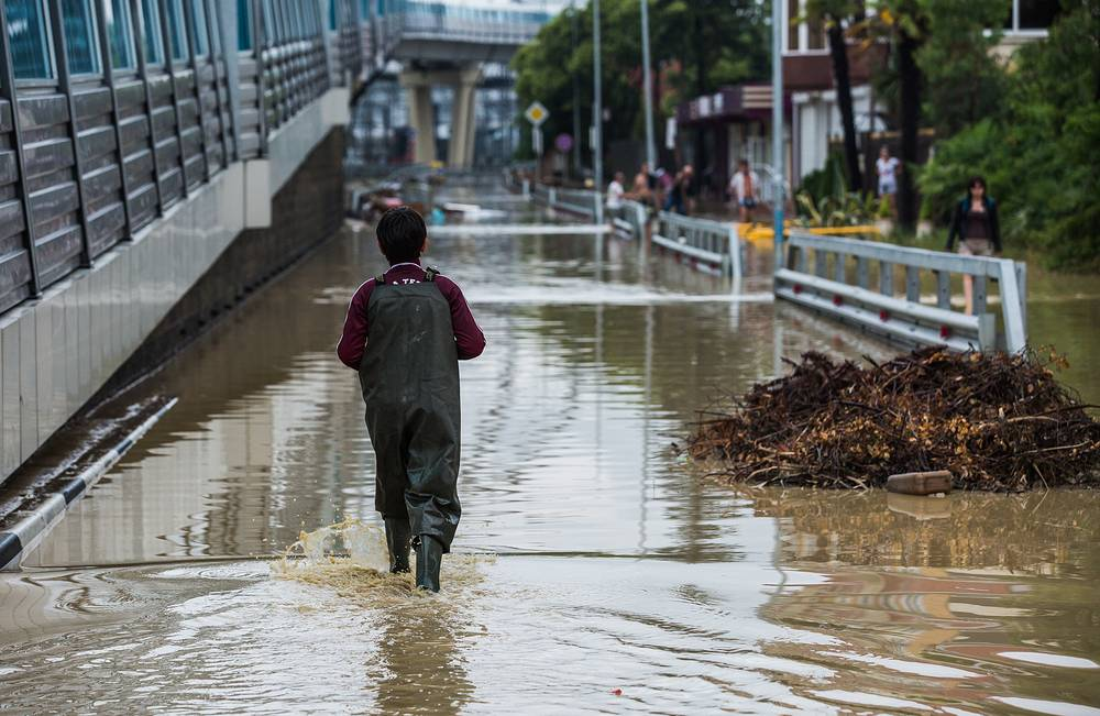 Sochi airport was closed for inbound flights because of a partial inundation of the airfield