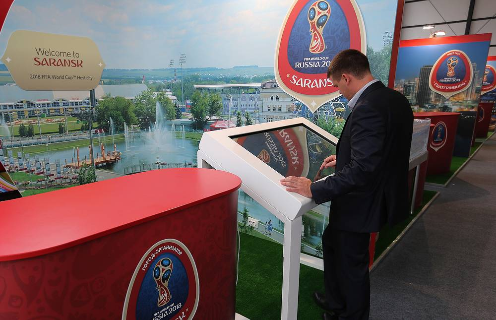 Stand of Saransk, a host city for the 2018 FIFA World Cup at the Konstantinovsky Palace