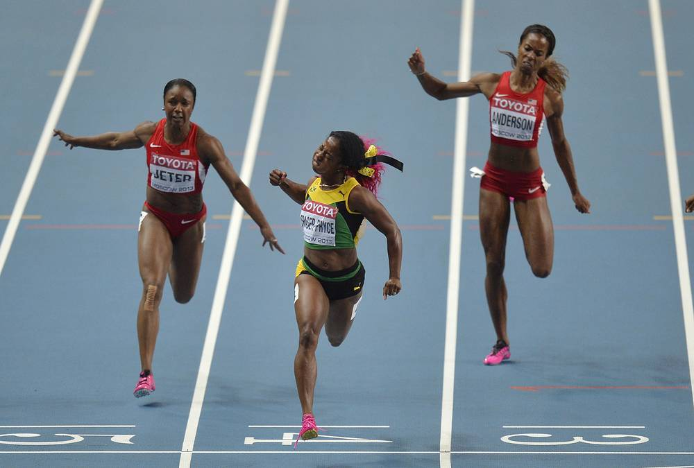 Women's 100-meter final at the World Athletics Championships in the Luzhniki stadium, 2013