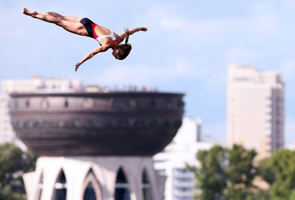 American athlete Tara Tira competing in the women's 20m high diving, August 4