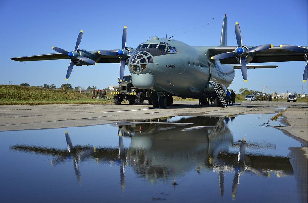 Antonov An-12 transport aircraft became very popular with cargo operators. This airlifter is operated by a crew of five or six men. The aircraft entered into service in 1959 and its production ceased in 1973
