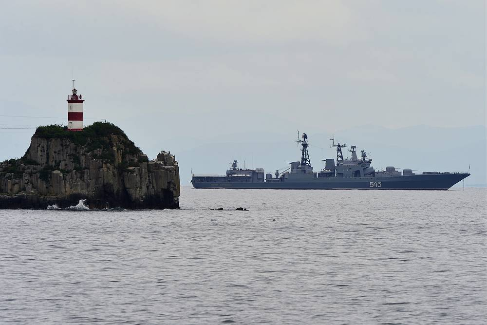 The largest joint naval drills were split into two phases, the first of which was held in May Photo: The Russian destroyer Marshal Shaposhnikov in the Gulf of Peter the Great