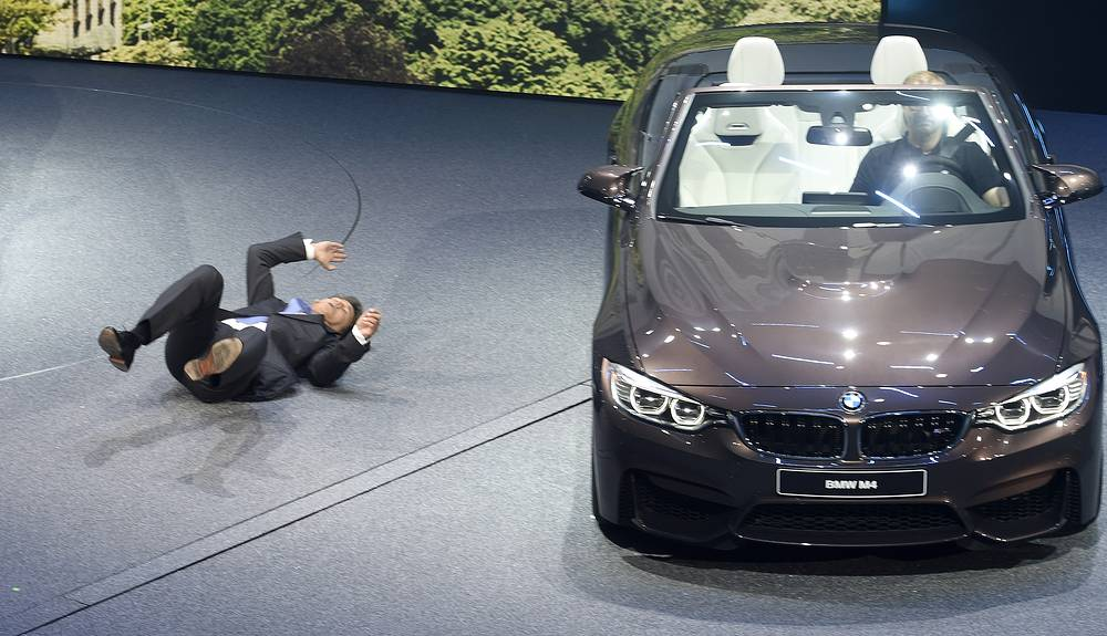 BMW CEO Harald Krueger collapsing during the BMW presentation on the first press day of the Frankfurt Auto Show IAA in Germany