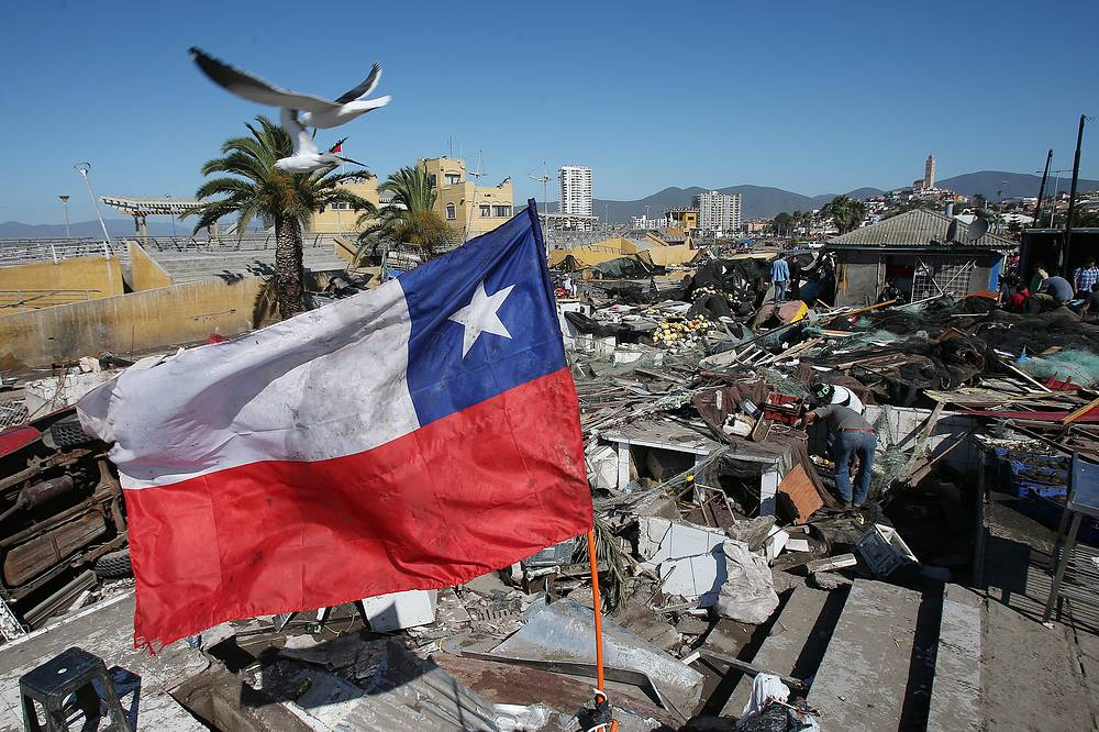 Flea market which was destroyed by a tsunami caused by an earthquake in Coquimbo, Chile