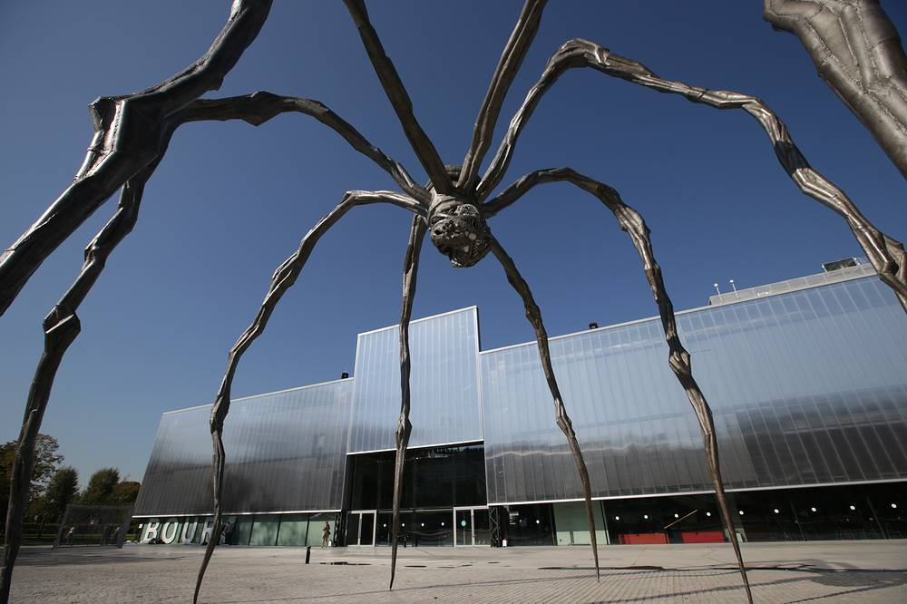 "The Maman sculpture by artist Louise Bourgeois by the Garage Museum of Contemporary Art that hosts the exhibition titled ""Louise Bourgeois. Structures of Existence: The Cells"" as part of the 6th Moscow Biennale of Contemporary Art"