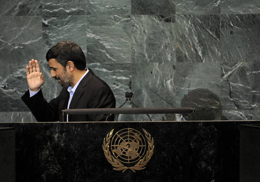 "During his speeches at the UN Iranian President Mahmoud Ahmadinejad not only to spoke out strongly against Israel, but also called the September 11 attacks on the US a ""big fabrication"""